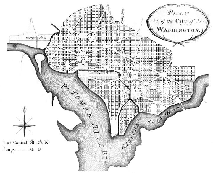 Engraving showing Pierre L'Enfant's plan of Washington, DC, 1992