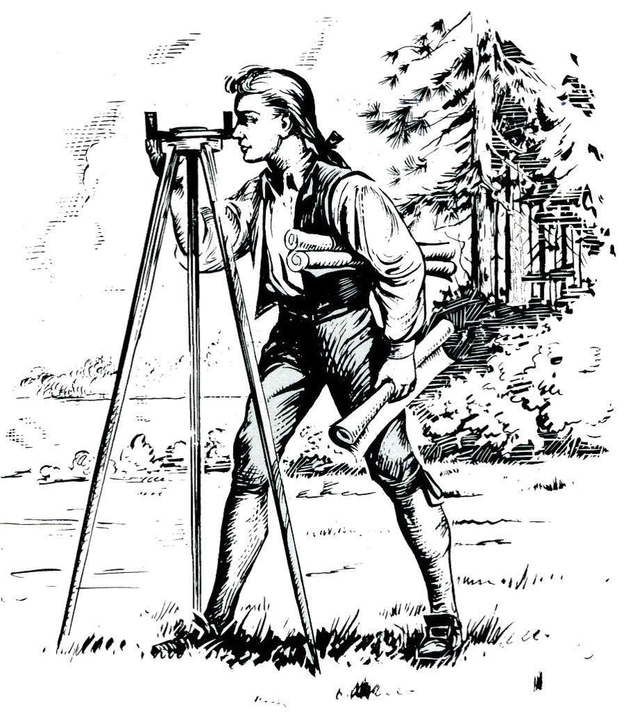 Ink sketch of young George Washington surveying the area around the Popes Creek plantation.