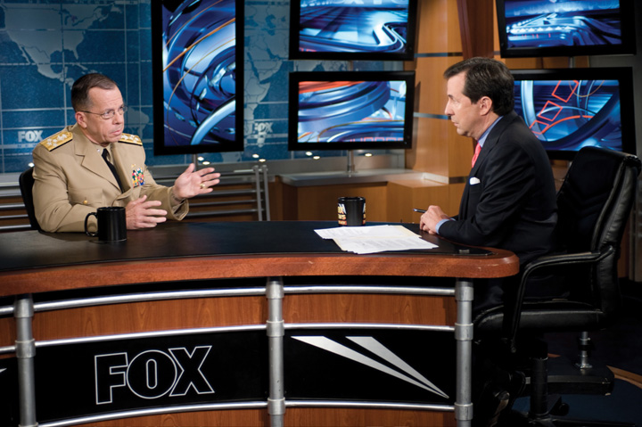 Photo: Chairman of the Joint Chiefs of Staff Navy Mike Mullen, left, participates in an interview with Chris Wallace, the host of Fox News Sunday, in Washington, D.C