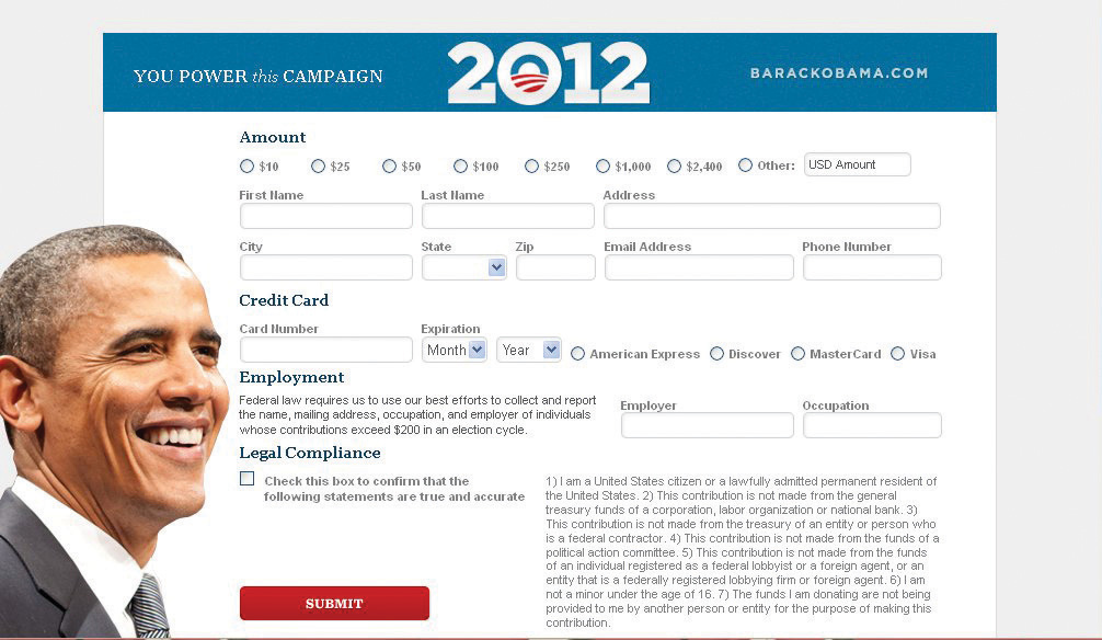 Image includes a photo of Barack Obama and a screen shot of a donation-form page from his Web site, where supporters could contribute money to his reelection campaign.
