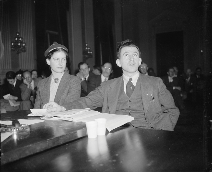 Black-and-white photo of Joseph P. Lash, Executive Secretary of the American Students' Union, and Miss Agnes Reynolds, College Secretary of the Union while being questioned by The Dies Committee Investigating un-American activities.