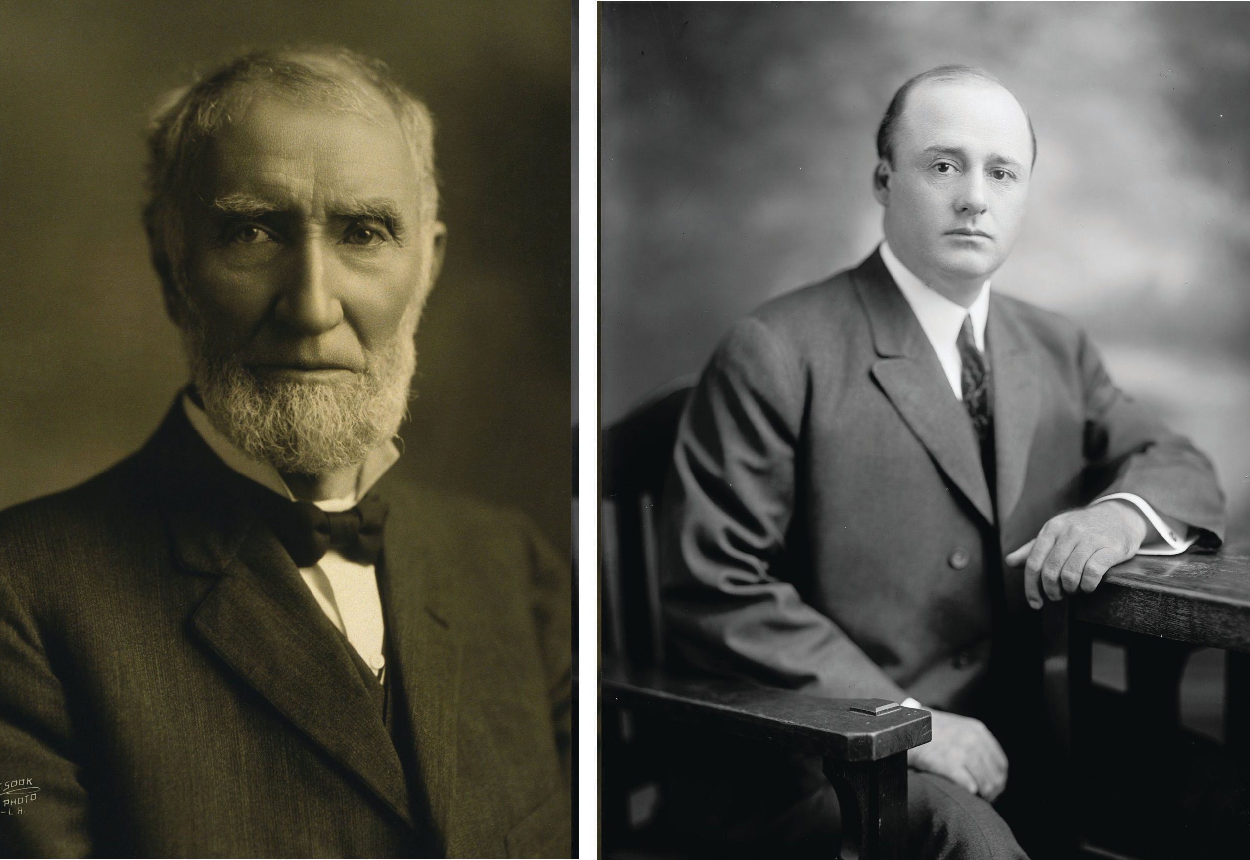 Left: photo of Joe Cannon. Right: photo of Sam Rayburn