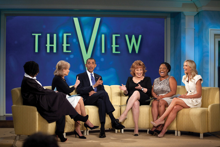 Photo: President Barack Obama records an episode of The View at ABC Studios in New York, N.Y., July 28, 2010. Pictured, from left, are Whoopi Goldberg, Barbara Walters, Joy Behar, Sherri Shepherd, and Elisabeth Hasselbeck.