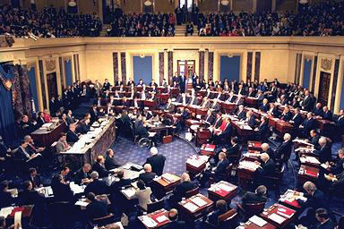Photo the U.S. Senate in session during the impeachment trial of Bill Clinton