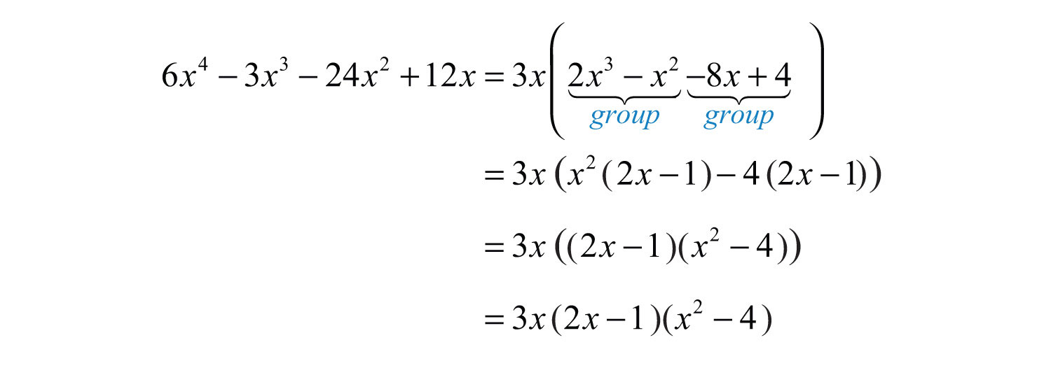 General guidelines for factoring polynomials now factor the resulting four term polynomial by grouping falaconquin