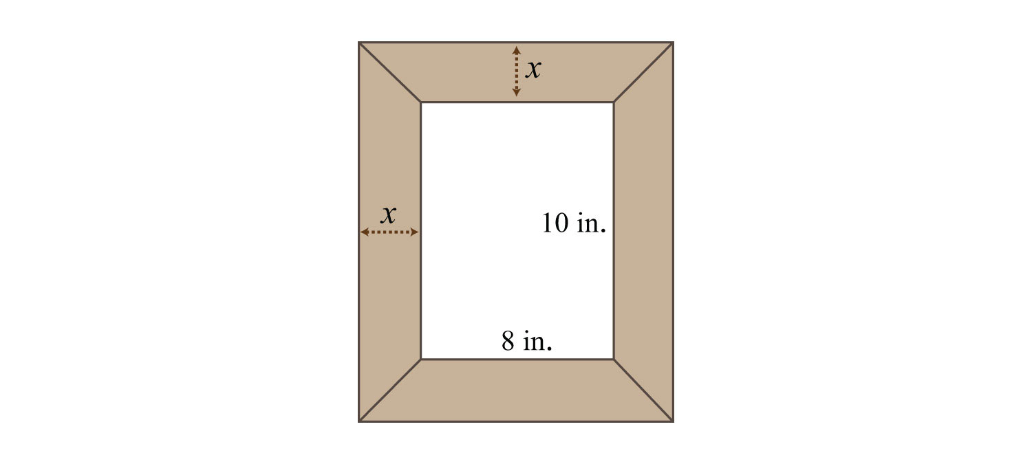 worksheet 8 Ft In Inches applications involving quadratic equations a uniform border is to be placed around an 8 inch by 10 picture if the total area including must 224 square inches then how wide shoul