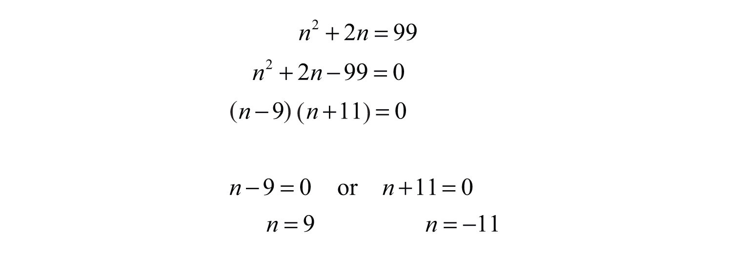 Because The Problem Asks For Positive Integers, N=9 Is The Only Solution  Back Substitute To Determine The Next Odd Integer