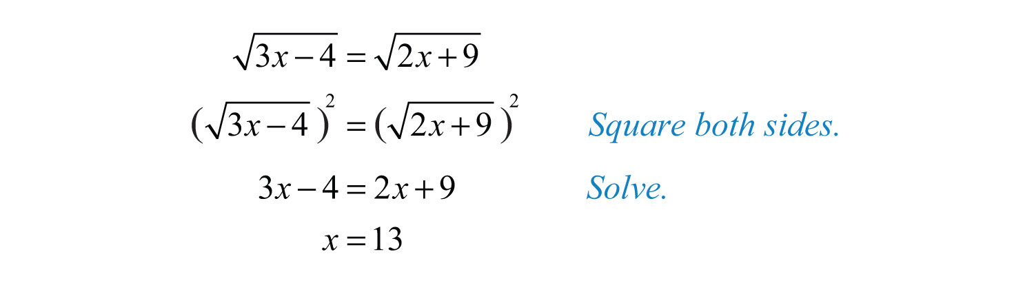 Worksheets Solving Radical Equations solving radical equations solution both radicals are considered isolated on separate sides of the equation