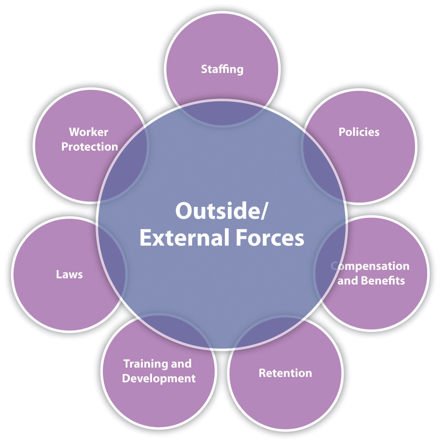 external factors affecting the employment relationship All outside factors that may affect an organization make up the external environment and a strong working relationship to provide needed resources.