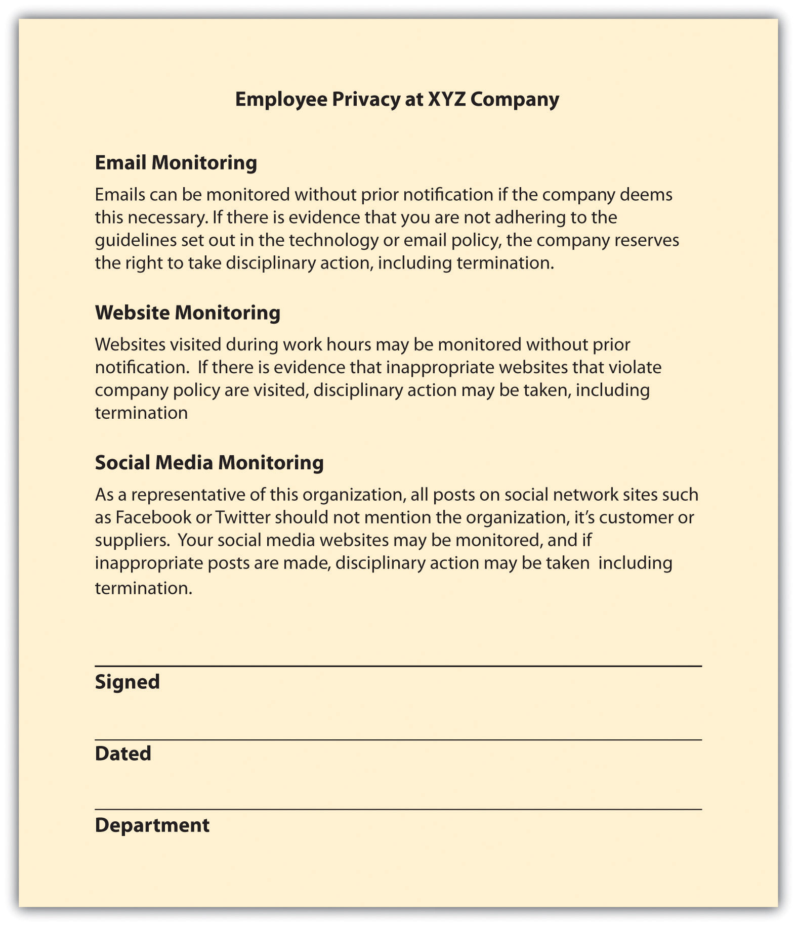 Employee rights for Corporate privacy policy template