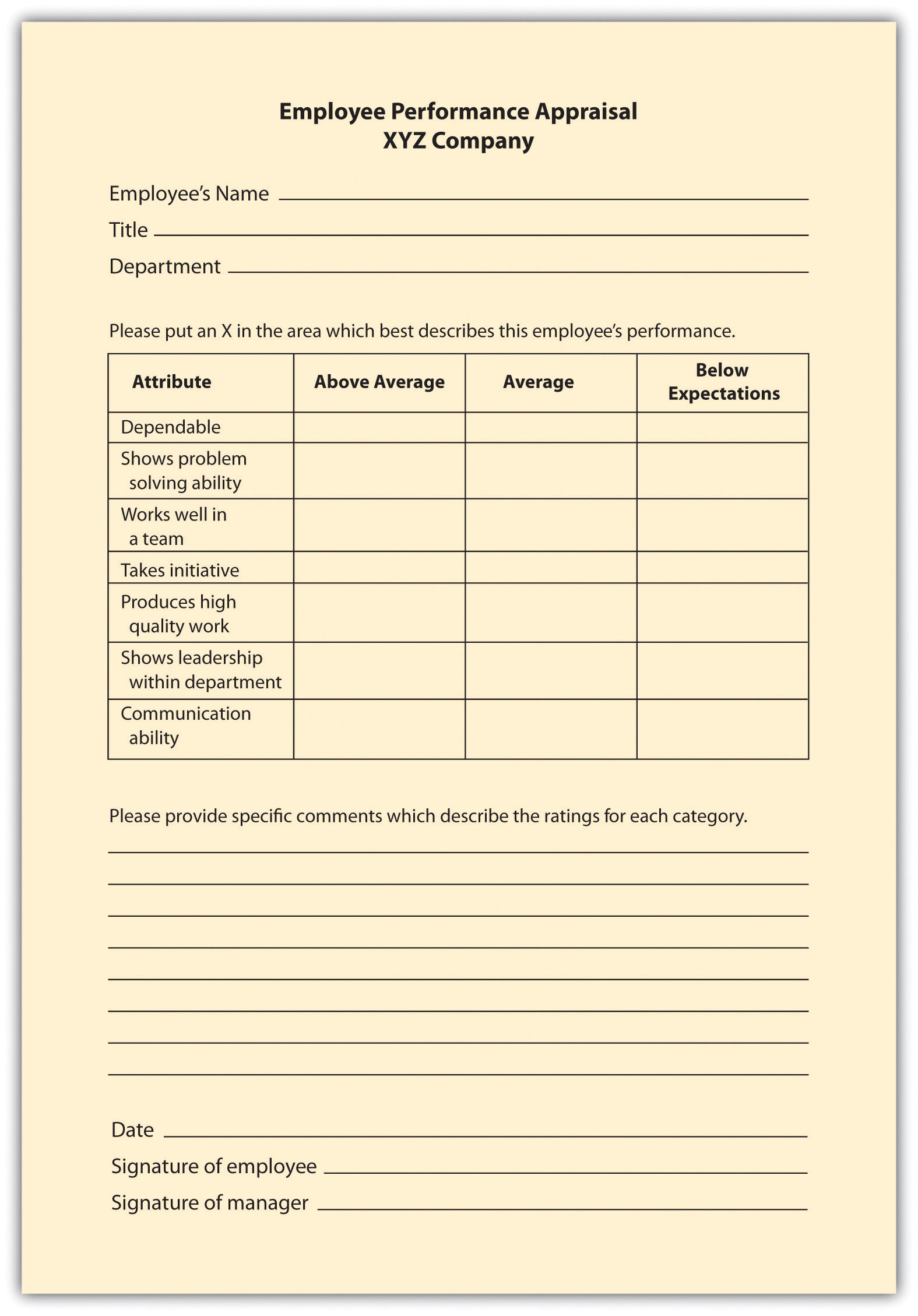 Graphic Rating Scale Performance Appraisal Method