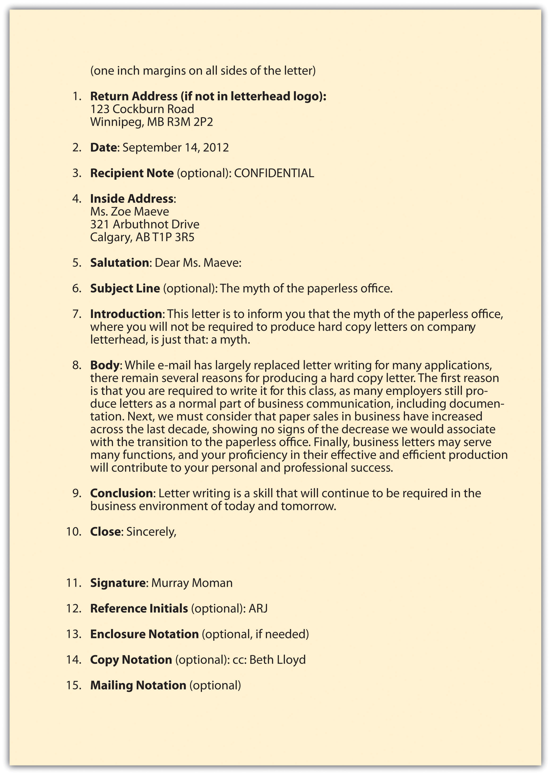 memorandums and letters example of a business letter format for