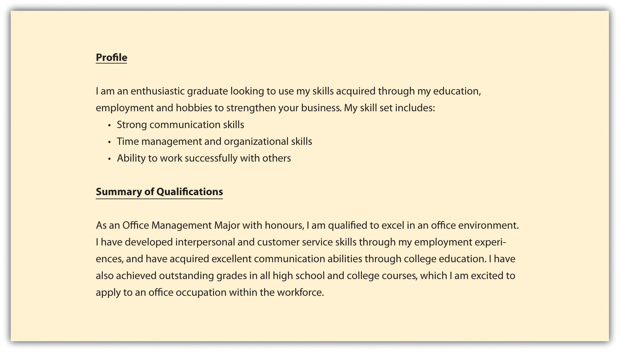 profile or summary of qualifications - Sample Resume Business Communication