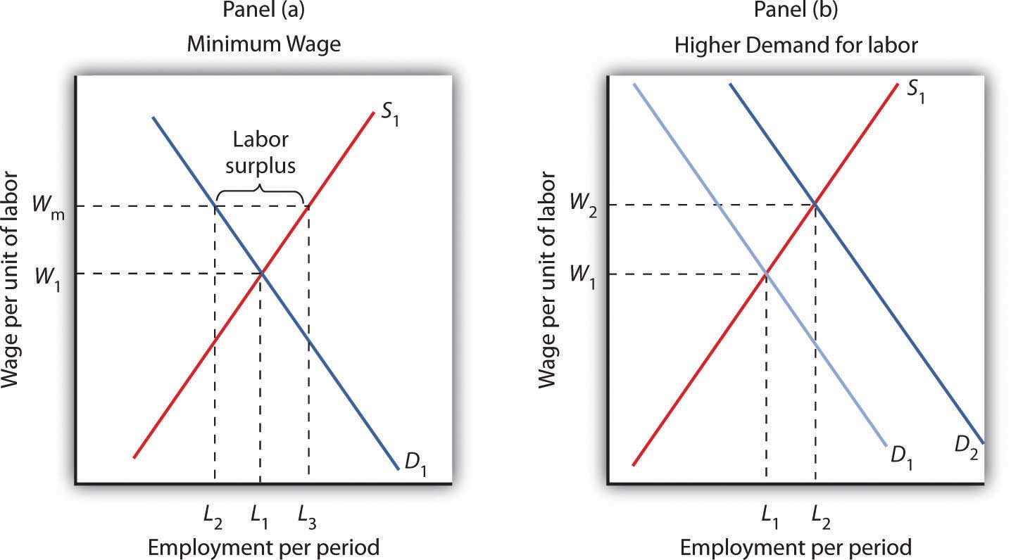 effect of minimum wage on demand A national minimum wage (nmw) was introduced for the first time by the labour government of uk on 1 april 1999, and it's been practiced hence fore the current minimum wage of uk as per october 2009 demand curve of labour: it is assumed that the higher the wage, the fewer hours an employer will demand of an employee.