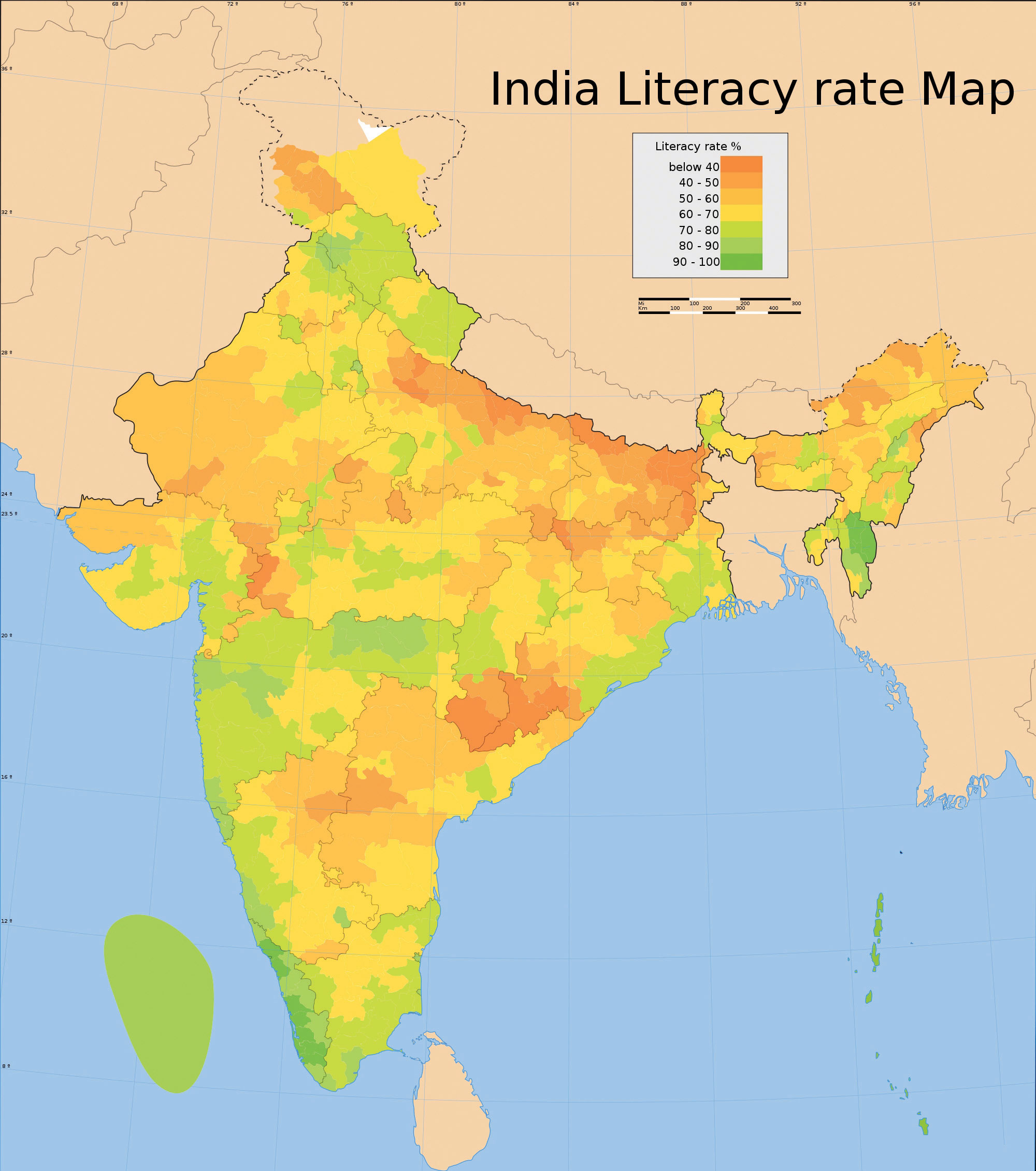 figure  indian literacy rates. maps and map types