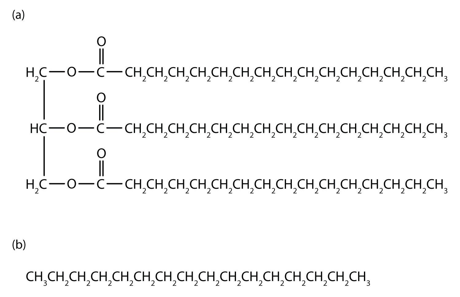 Tripalmitin (a), a typical fat molecule, has long hydrocarbon chains ...