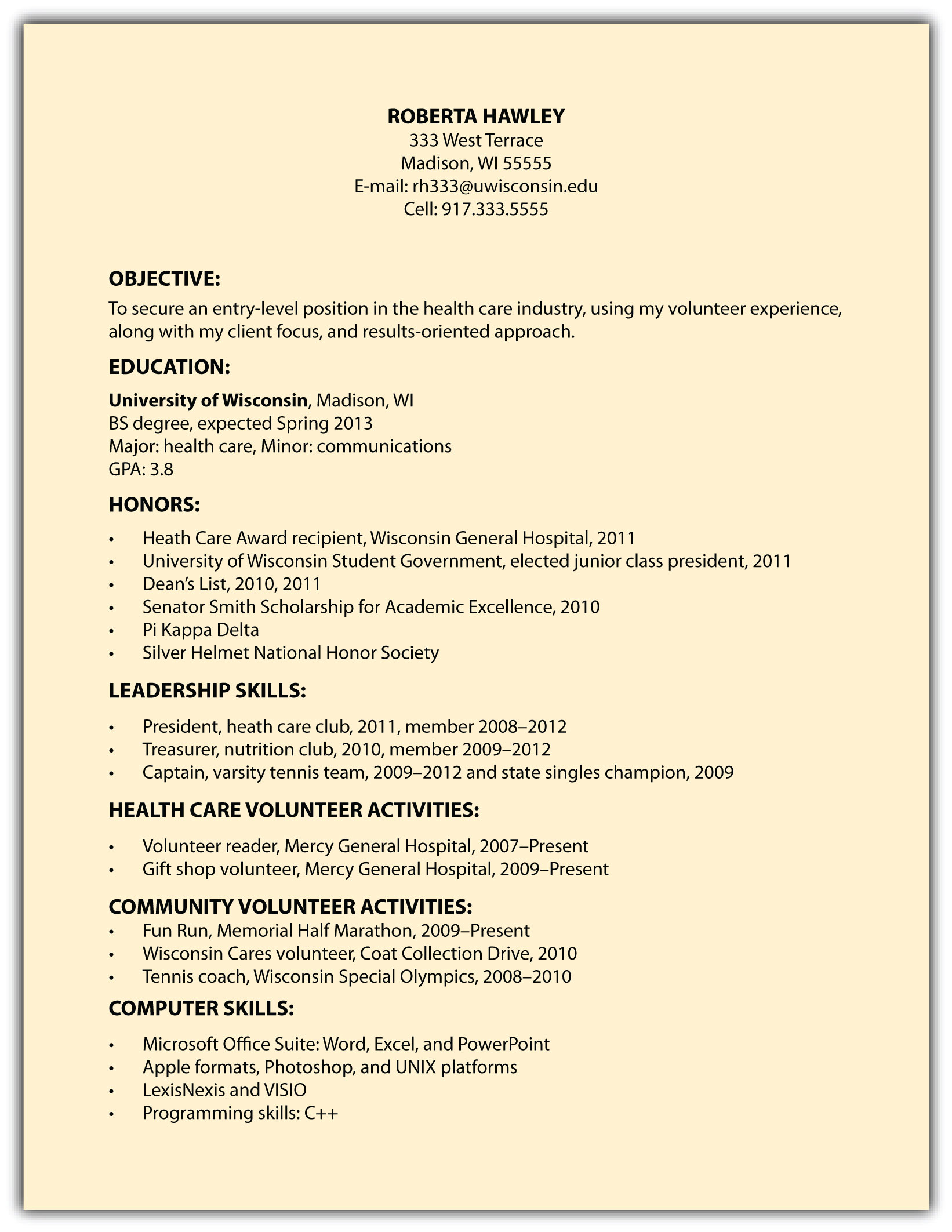 Resume Honors And Activities Sample