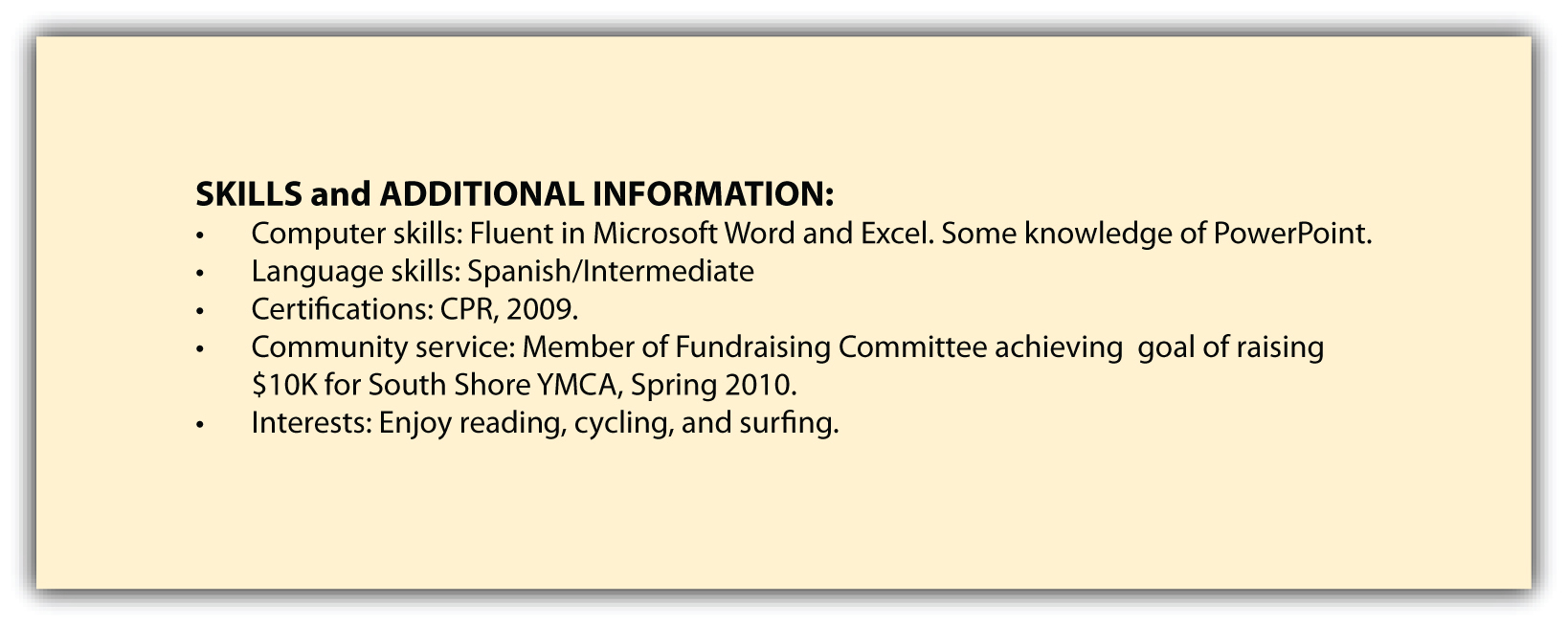 Skills And Additional Information  Resume Skills And Qualifications Examples