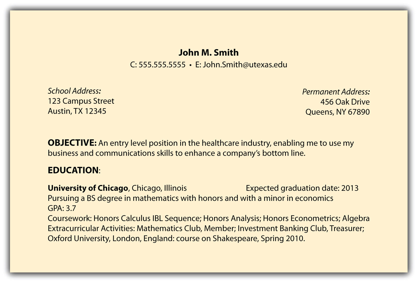 objectives sample for resume