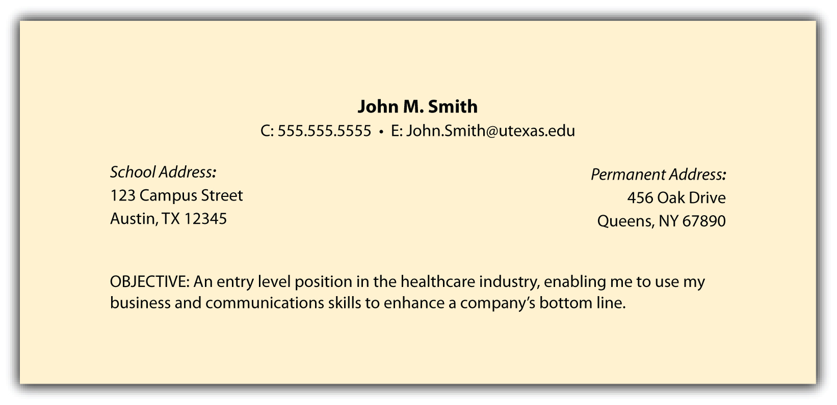 objectives sample in resumes