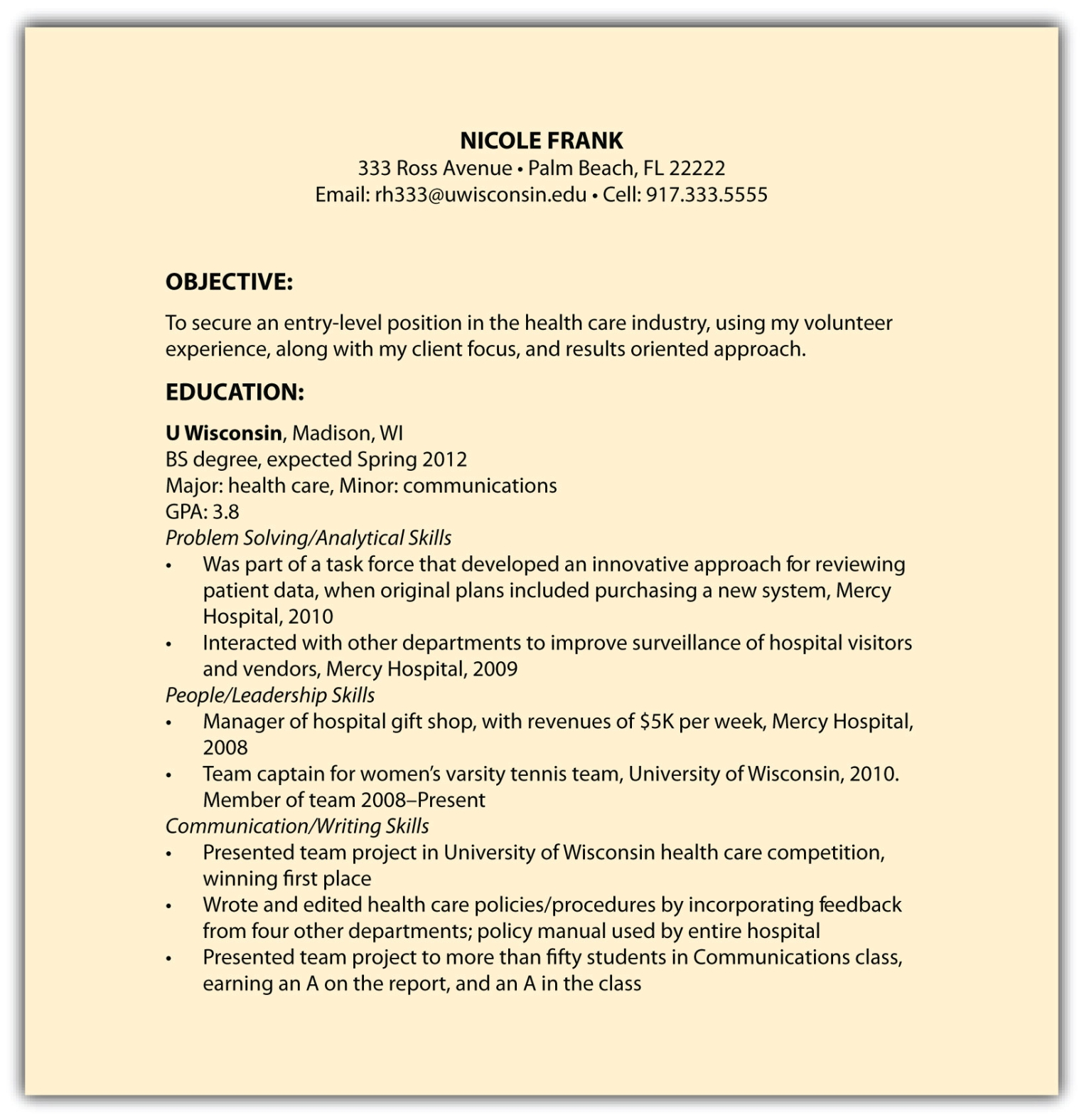 Resume Honors Colleg