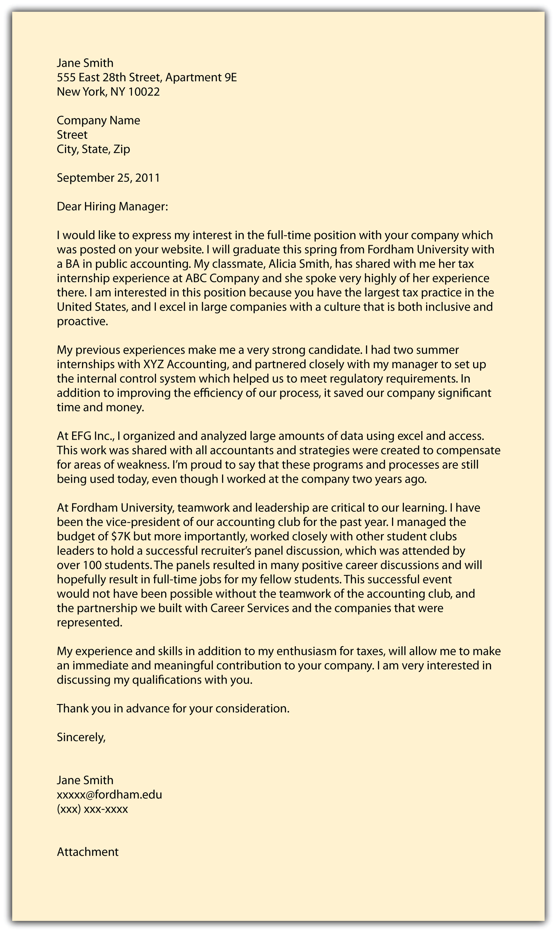 Communications Cover Letter Examples