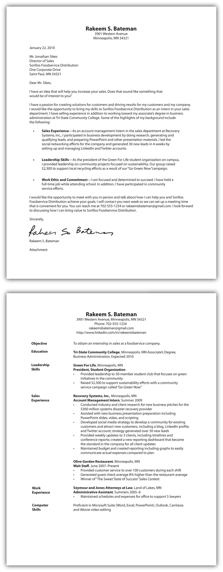 Cover Letter And Resume One Document
