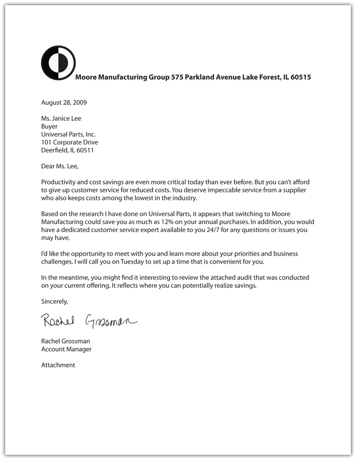 Business letter format example with attachment spiritdancerdesigns Choice Image