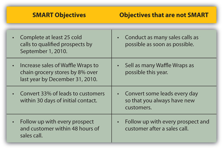 Identify precall objectives getting smart about your sales call figure 86 examples of smart objectives pronofoot35fo Image collections