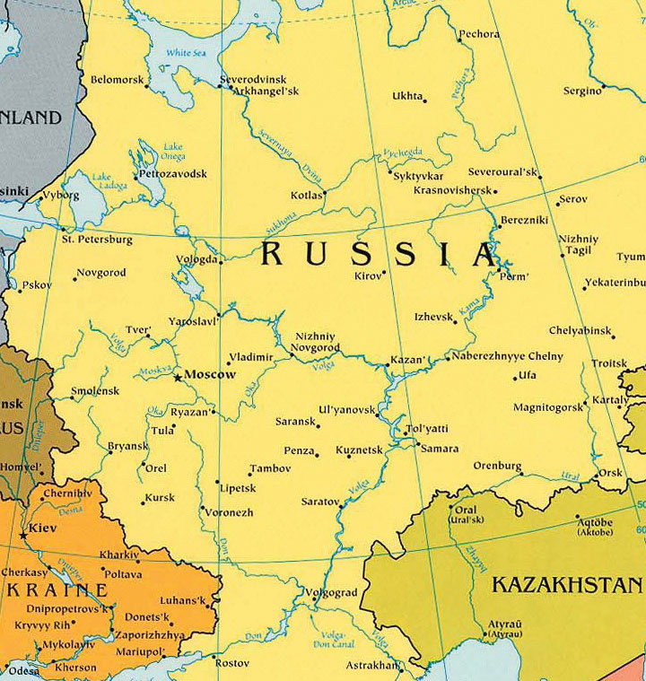 Regions Of Russia - Ural river on world map