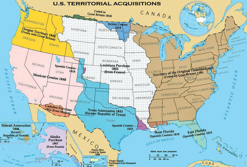 North America - Us map separated by region