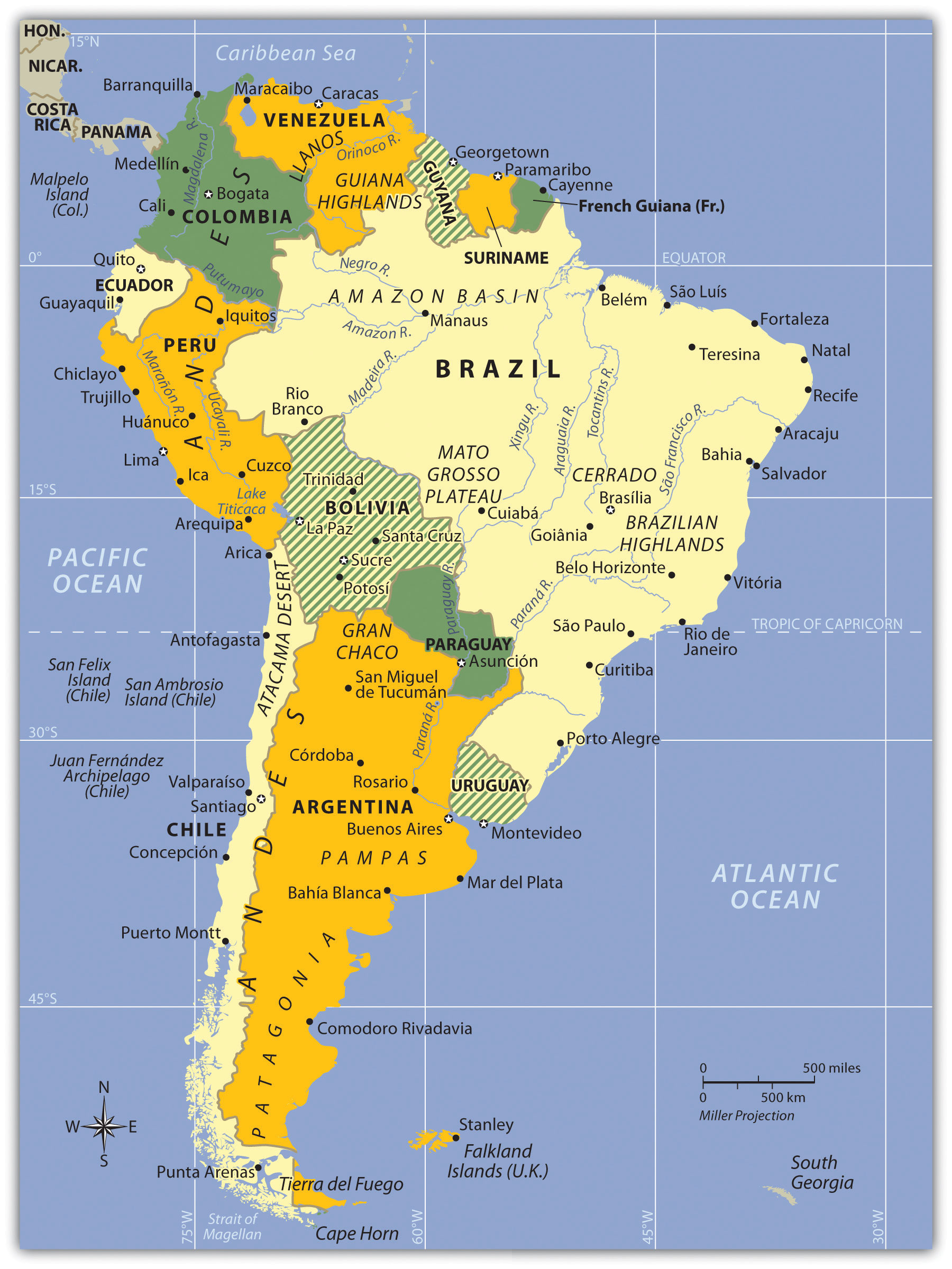 South America Other Maps - Physical map of central and south america