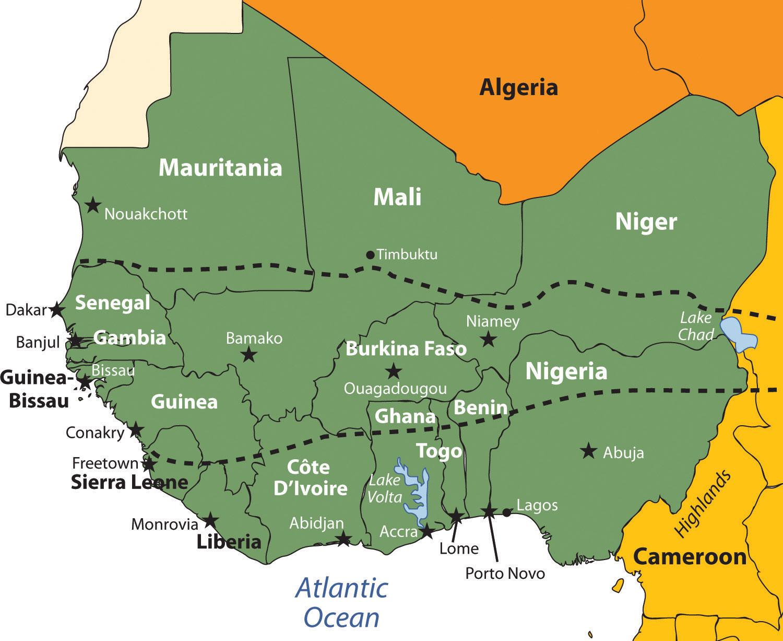 Outline of West Africa Figure 7.18 West Africa