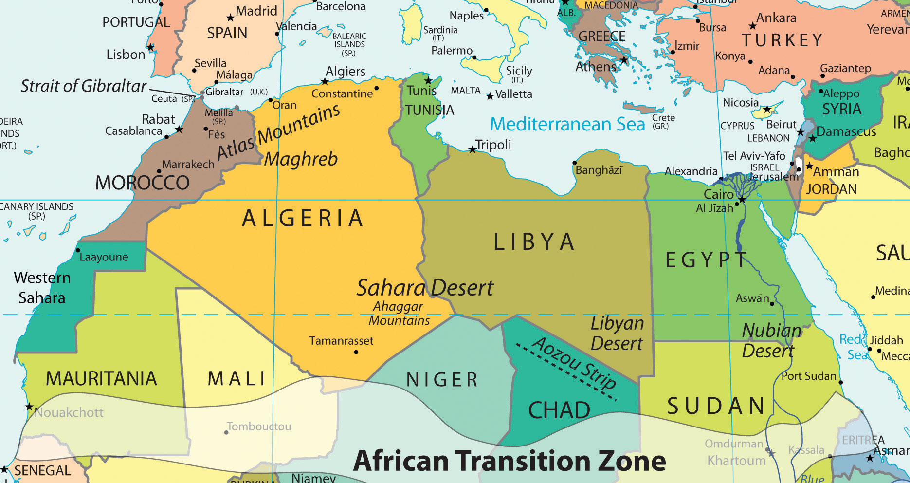 Southwest Asia North Africa Political Map | Map Of Africa