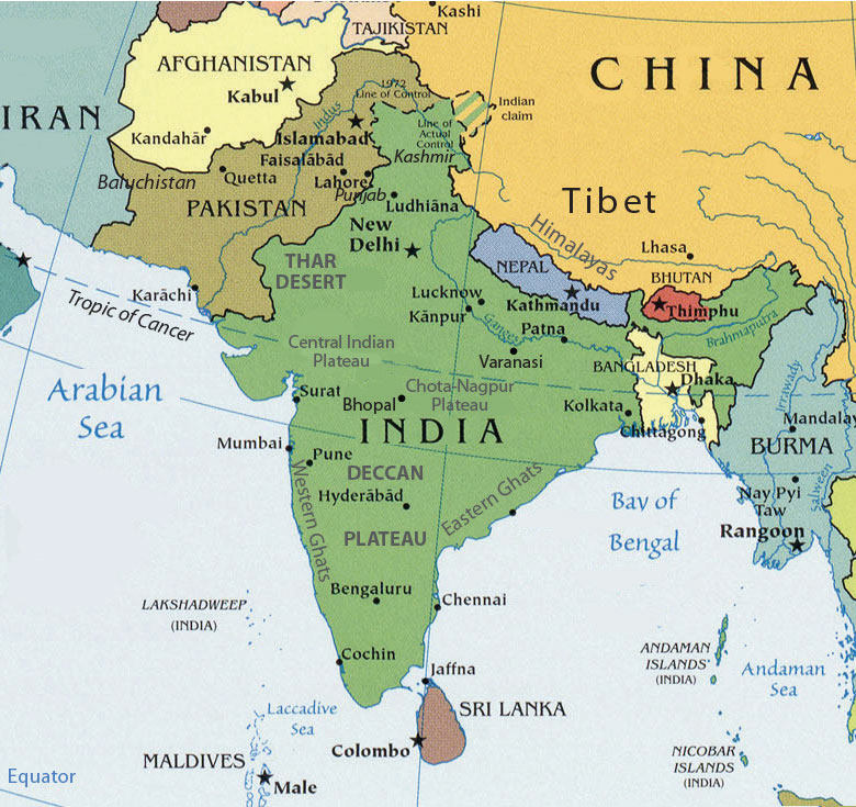 Map Of The South Asia.South Asia