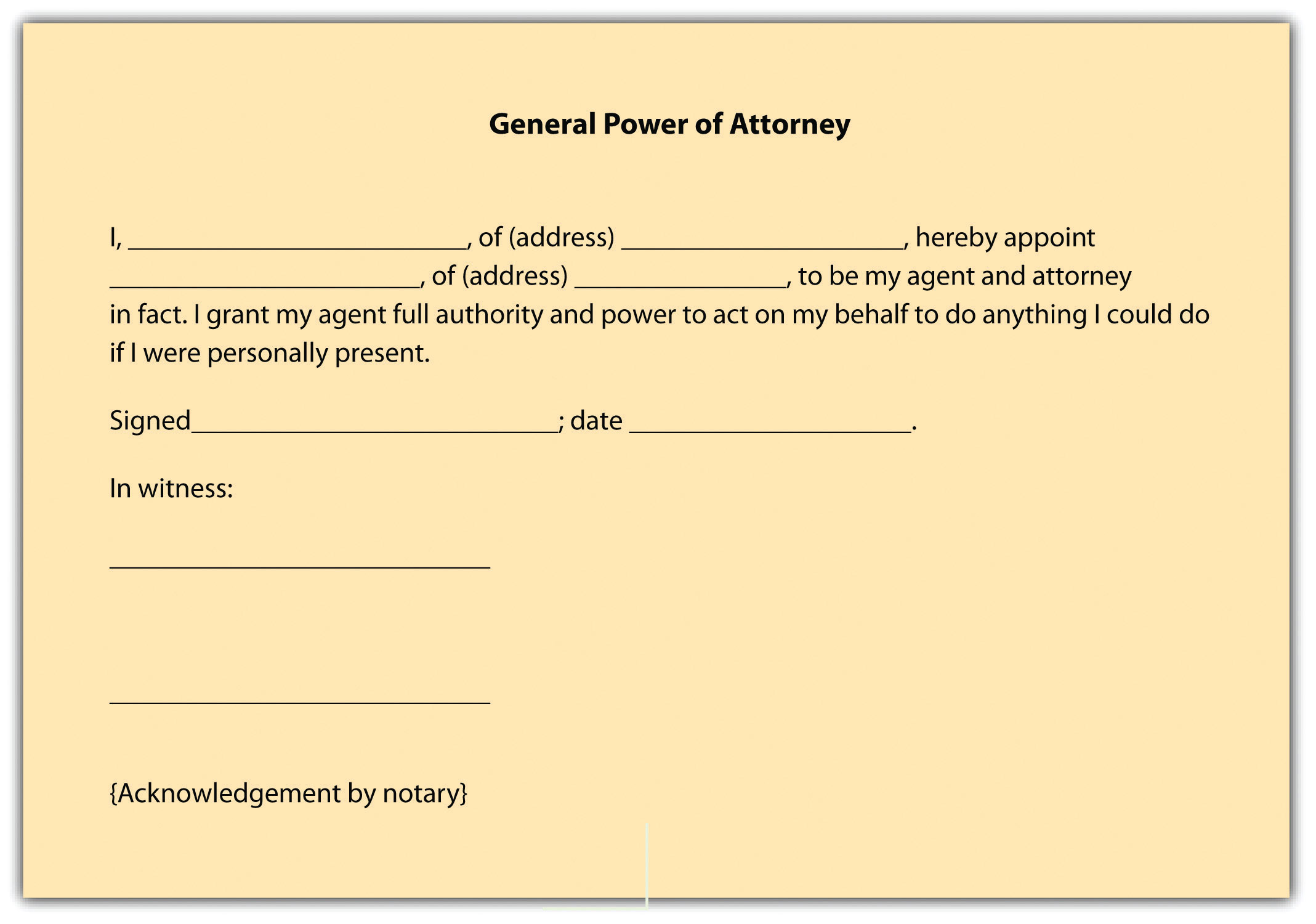 "Image of a General Power of Attorney. It reads that a person grants another person ""to be my agent and attorney in fact. I grant my agent full authority and power to act on my behalf to do anything I could do if I were personally present."""