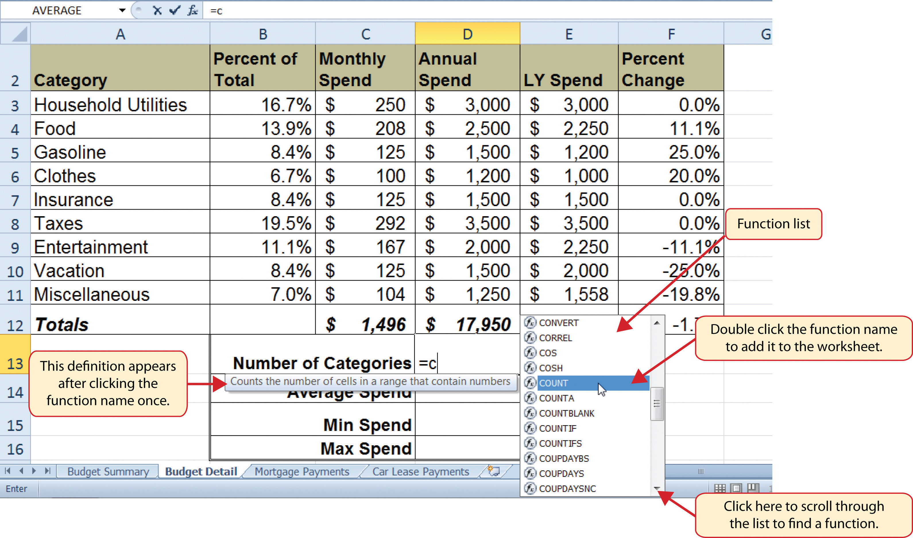 budget in excel