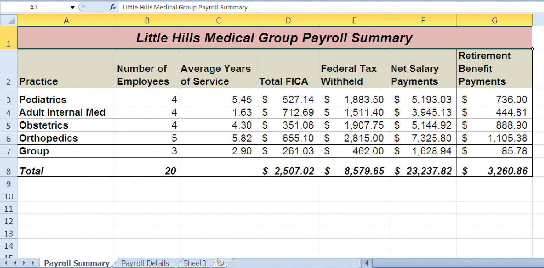 Chapter Assignments and Tests – Pay Roll Format