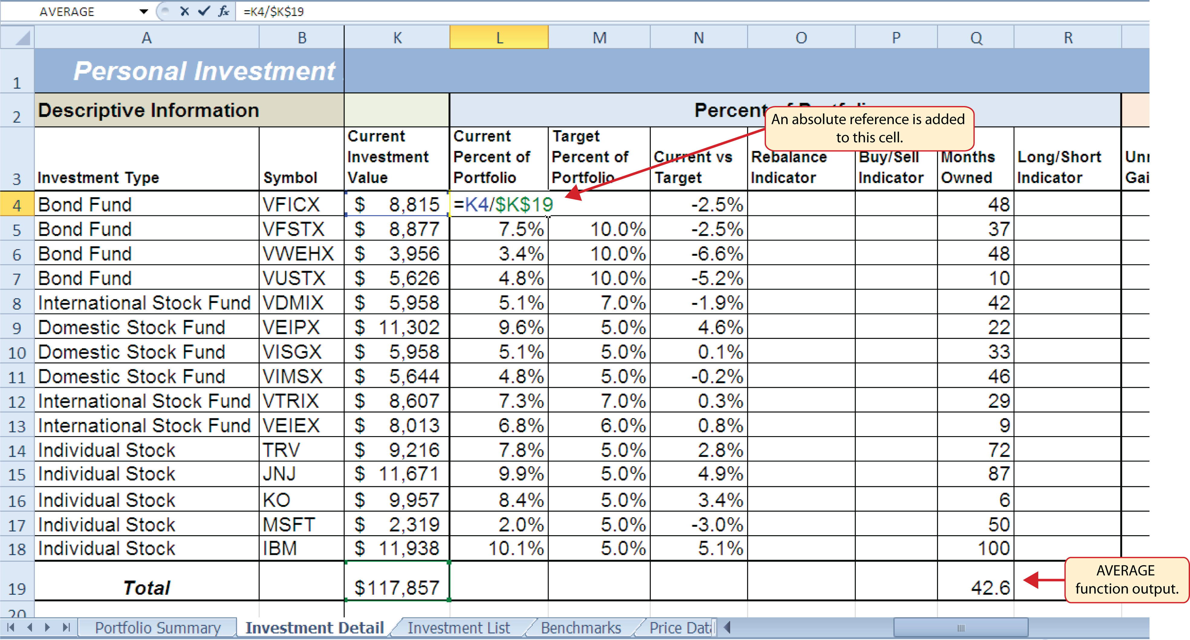 Logical and lookup functions for Sample investment portfolio templates