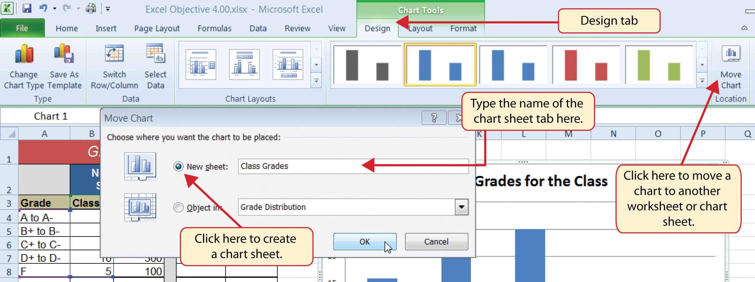 worksheet Insert A New Worksheet In Excel choosing a chart type creating sheet